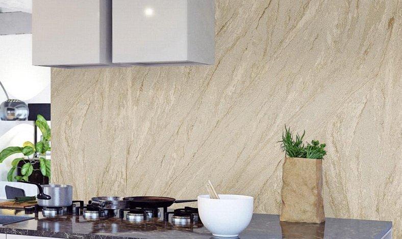 Wandverkleidung mit Betonfurnier, Sandsteintapete oder Rostoptik